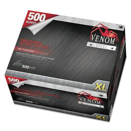 Medline Venom Steel Industrial Nitrile Gloves, X-Large, Black, 10 mil, 500/Box (Omix Glove Box)