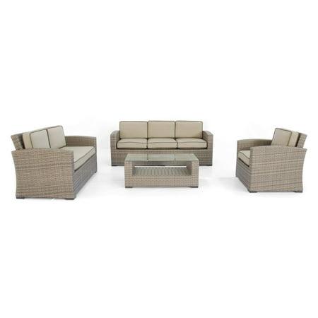 Creative Living Ferrara Conversational Sofa Set - Taupe Weave