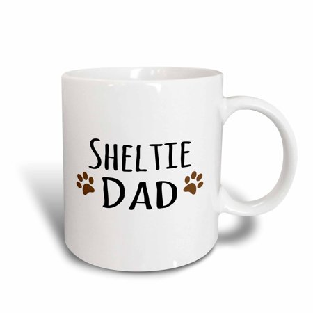 3dRose Sheltie Dog Dad - Shetland Sheepdog - Doggie by breed - brown paw prints - doggy lover pet owner, Ceramic Mug, 15-ounce