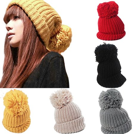 06ade08e4 Heepo Women's Winter Slouch Knit Cap Warm Oversized Cuffed Beanie Crochet  Ski Bobble Hat