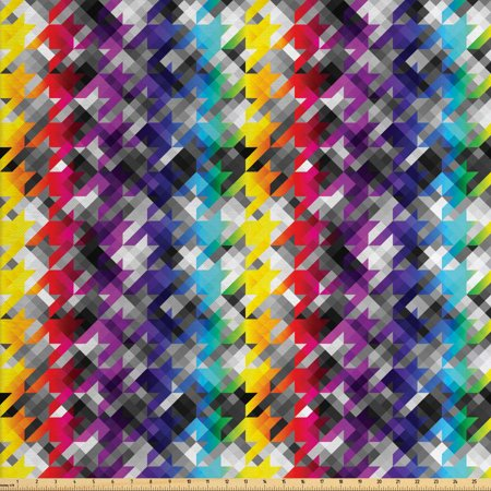 Colorful Fabric by The Yard, Diagonal Geometrical Houndstooth Pattern in Rainbow Colors on Grey Background, Decorative Fabric for Upholstery and Home Accents, by Ambesonne