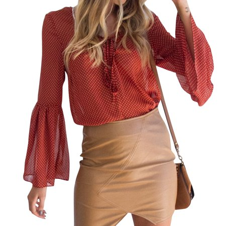 Tie Front Chiffon Blouse - Nlife Women Chiffon Polka Dots Long Sleeve Tie Front V Neck Trumpet Sleeve Blouse