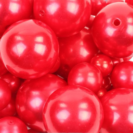 Koyal Wholesale Red 80 Piece Floating Pearl Beads In Transparent Water Gels, Wedding Floating Candle Centerpiece