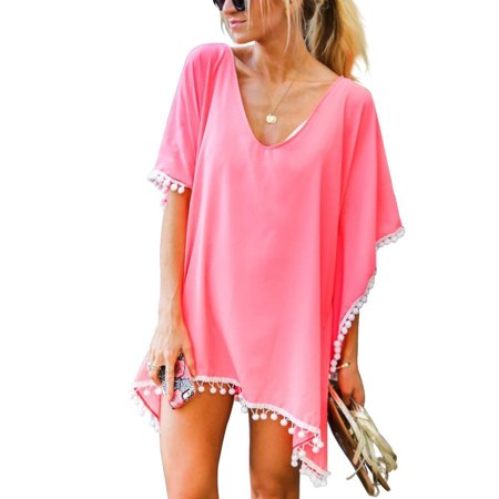 Women Chiffon Tassel Bohemian Swim Cover Ups Bikini Tunic Beach Dress Summer Casual Shirt Dress Irrgular Hems Boho Style Poncho Swimsuit Beach Stylish Pompom Trim Bathing Suit