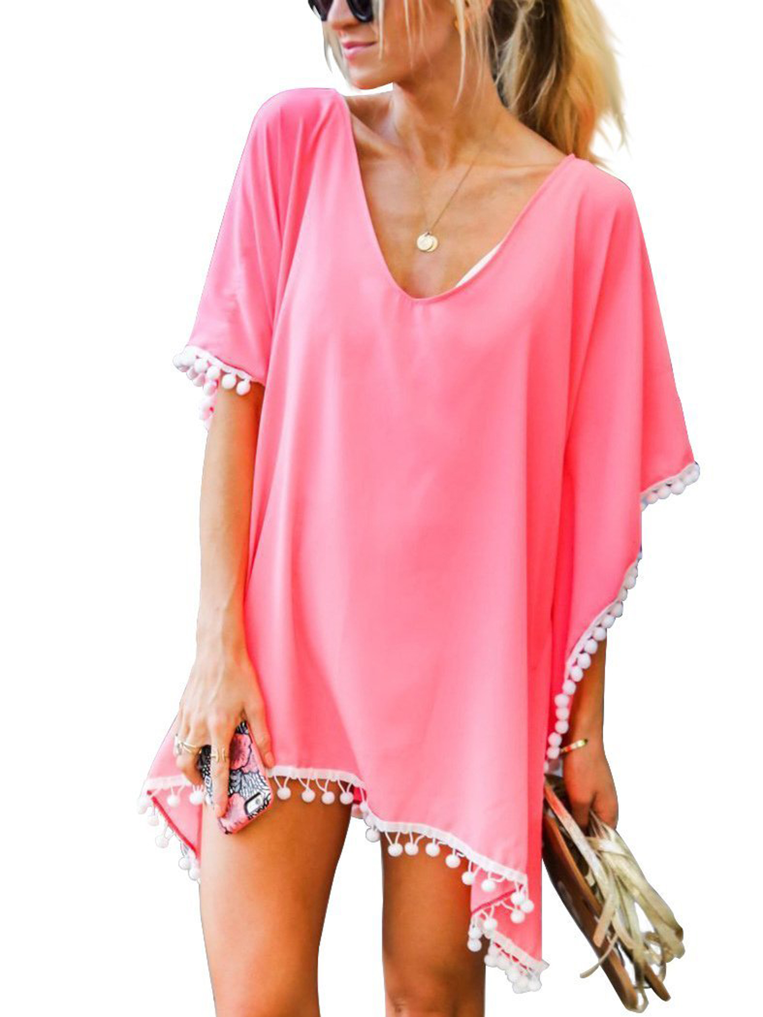 Beach Bikini Cover up Wrap Women Swimwear V Neck Loose Fit Short Dress with Tassels Boho style Poncho Trim Kaftan Loose Beachwear