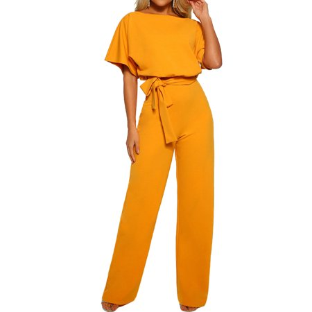 Short Sleeve Playsuit for Women Plus Size Wrap Drawstring Tie Jumpsuit Long Pants Romper Casual Trousers Evening Party Clubwear