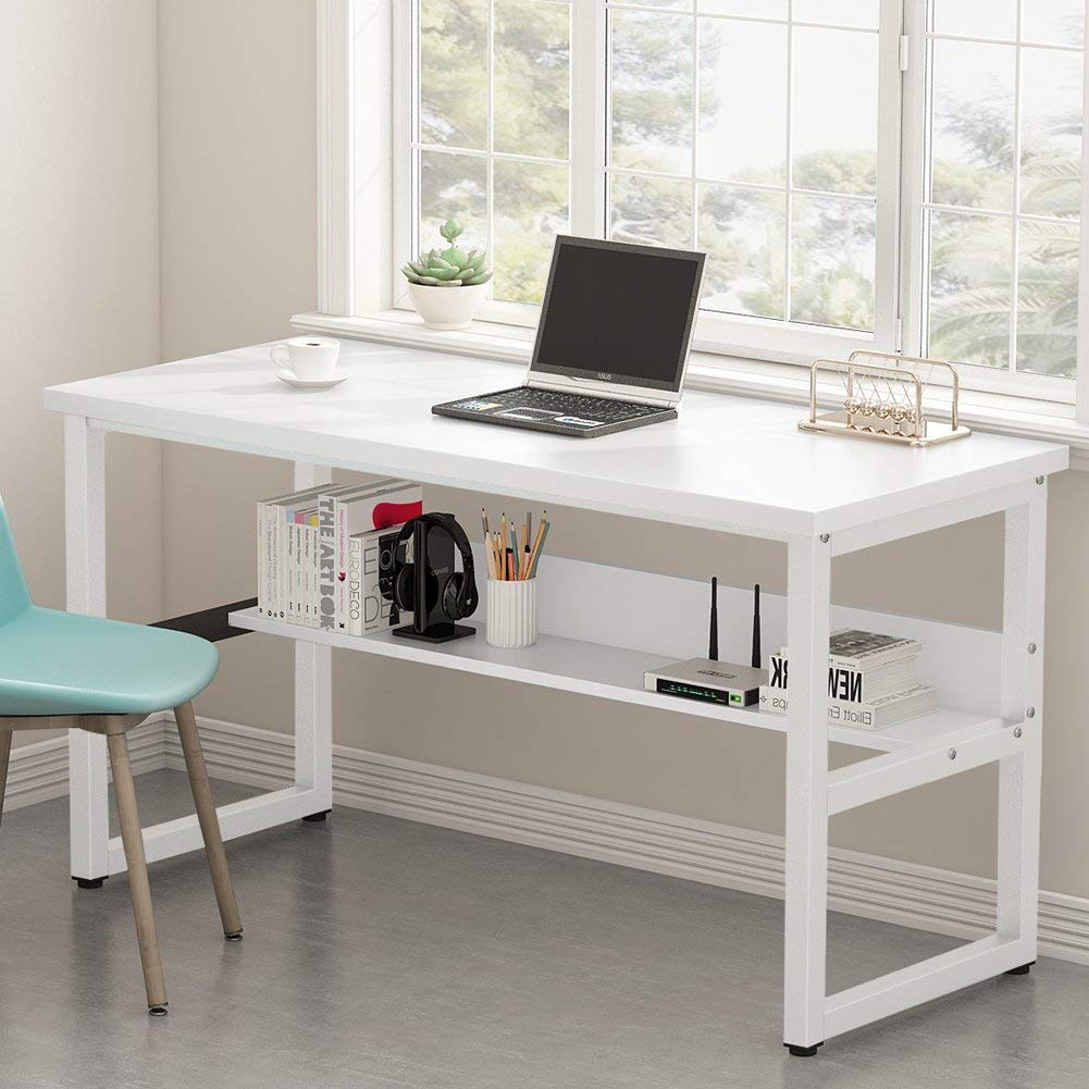 """Tribesigns Computer Desk with Bookshelf, 33"""" Simple Modern Style Writing  Desk with Metal Legs Works as Office Desk Study Table Workstation for Home"""