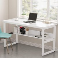 """Tribesigns Computer Desk with Bookshelf, 55"""" Simple Modern Style Writing Desk with Shelves Works as Office Desk Study Table Workstation for Home Office in Black"""