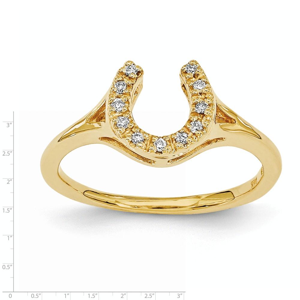 IceCarats 14k Yellow Gold Diamond Horseshoe Band Ring Siz...