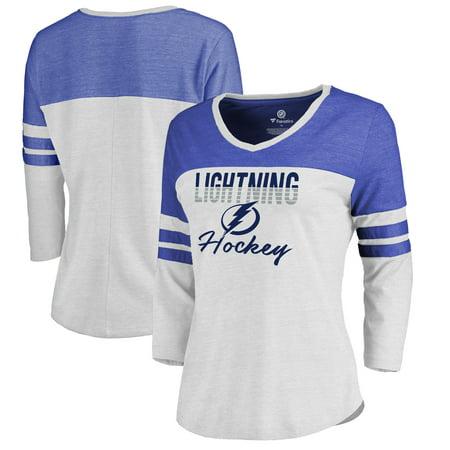 Tampa Bay Lightning Fanatics Branded Women's Plus Size Free Line Color Block 3/4-Sleeve Tri-Blend T-Shirt - White/Blue - Franklin Lightning Blend