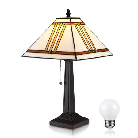 TORCHSTAR Desk Lamp, Tiffany Style Desk Lamp as a Valentine Gift, Reading Floor Lamp, Mission Design Table Desk Lighting for Bedroom, Living Room, Offices, Bulbs Include (Tiffany Baptism Gift)