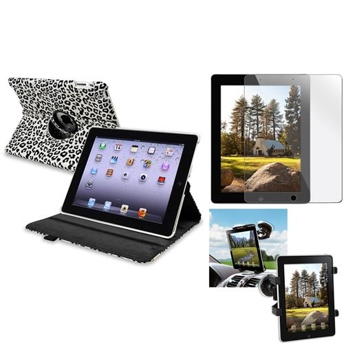 INSTEN Car Mount Holder+White/Black Leopard 360 Leather Case+Cover for iPad 4 3 2 (Supports Auto Sleep/Wake)