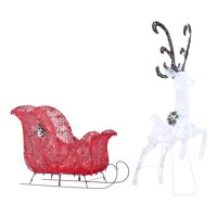 Holiday Time Light-up Twinkling LED Reindeer and Sleigh Decoration, 52""