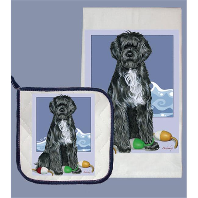 Pipsqueak Productions DP577 Dish Towel and Pot Holder Set - Portuguese Water Dog