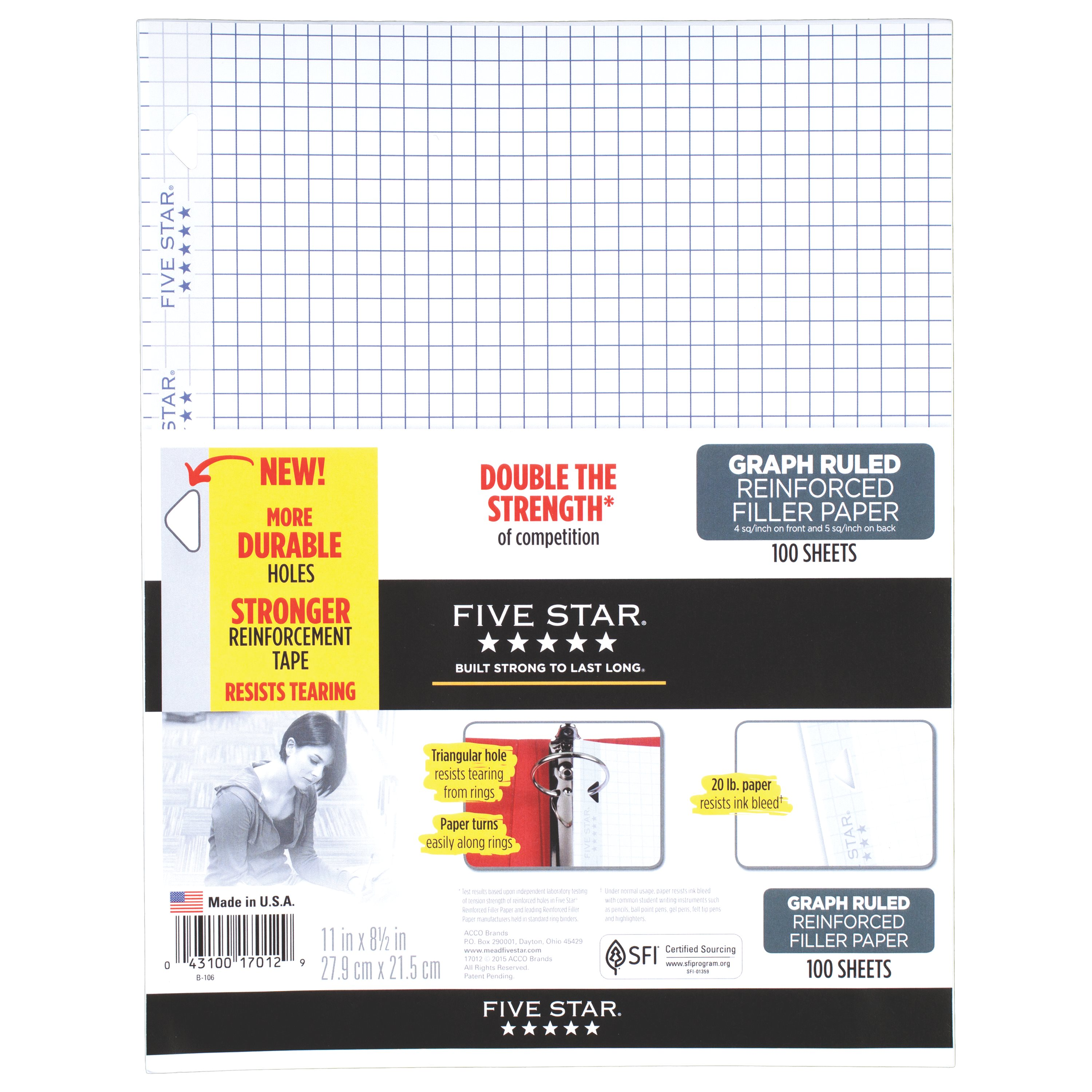 "Five Star Reinforced Filler Paper, Graph Ruled, 11"" x 8 1/2"", 100 Sheets/Pack"