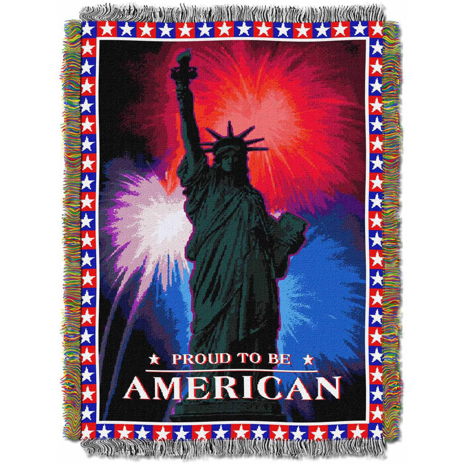 """July 4th 48"""" x 60"""" Holiday Woven Tapestry Throw"""