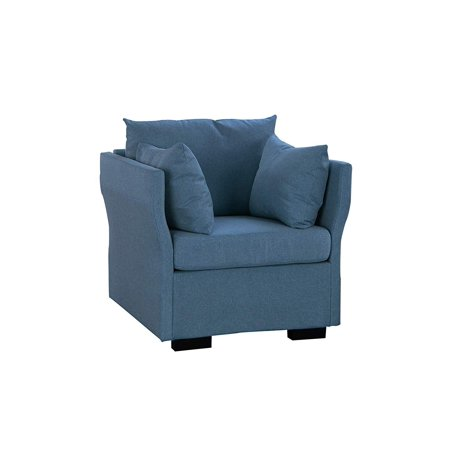 Phenomenal Modern Living Room Linen Fabric Armchair Accent Chair Dark Blue Machost Co Dining Chair Design Ideas Machostcouk