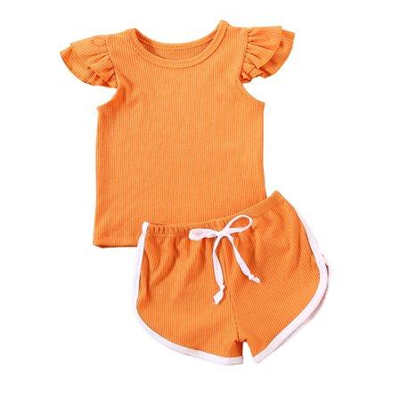 2PCS Toddler Kids Baby Girl Clothes T-shirt Top Pants Shorts Summer Outfits