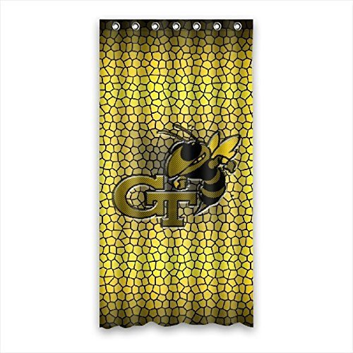 DEYOU Georgia Tech Yellow Jackets Shower Curtain Polyester Fabric Bathroom Shower Curtain Size 36x72 inches