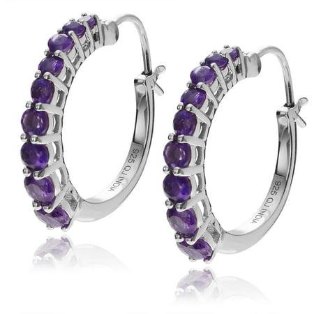 Brinley Co. Women's Amethyst Rhodium-Plated Sterling Silver Hoop Earrings