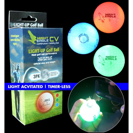 Night Eagle CV LED Golf Balls - Light Activated - No Timer - 3 Pack](Glowing Ball Night Light)