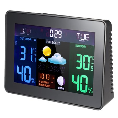 Multi-functional Digital LCD Wireless Weather Station Clock Alarm Snooze Function Indoor Outdoor Thermometer Hygrometer Barometer Calendar Moon Phase