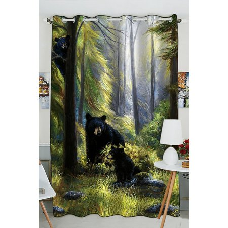 GCKG Black Bear Family In The Forest Blackout Curtains Window treatment Panel Drapes 52(W) x 84(H) inches (One Piece)