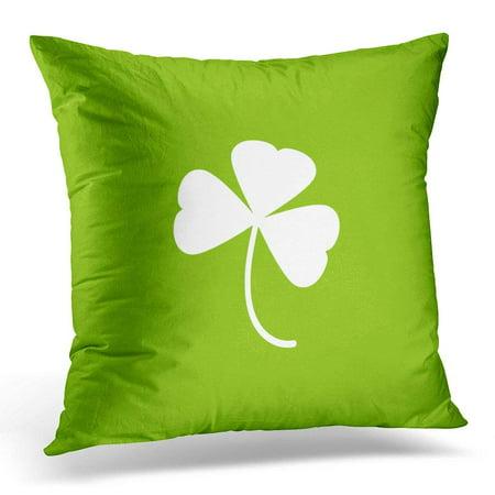 ARHOME Blade White Shamrock Green Clover Leaf St Patrick Day Irish Symbol Grass Pillow Case Pillow Cover 18x18 inch