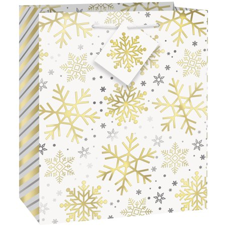 - Silver & Gold Snowflakes Holiday Gift Bag, 9 x 7 in, Foil, 1ct