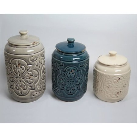 Drew Derose Designs Rustic Quilted 3 Piece Kitchen Canister Set