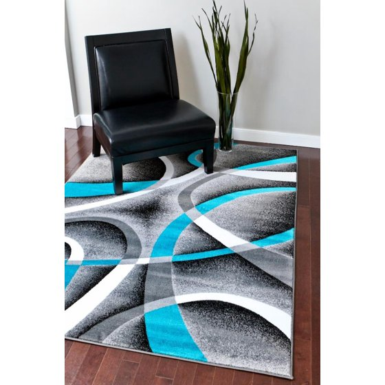 Persian Rugs 2305 Turquoise Modern Abstract Area Rug 8x11