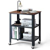 Gymax Industrial Serving Cart 3-Tier Kitchen Utility Cart on Wheels w/Storage Black