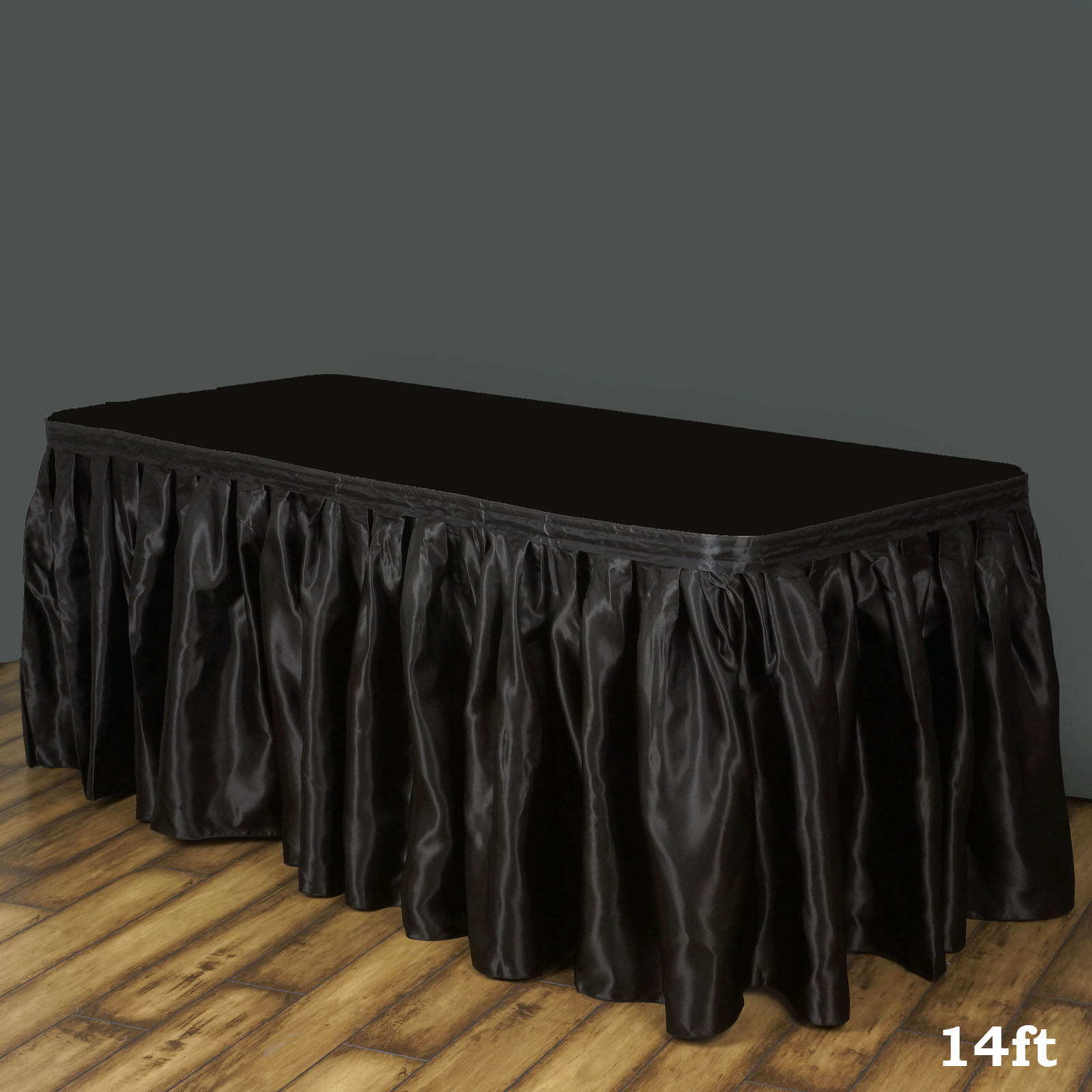 """BalsaCircle 14 feet x 29"""" Satin Banquet Table Skirt - Wedding Party Trade Show Booth Events Linens Decorations"""
