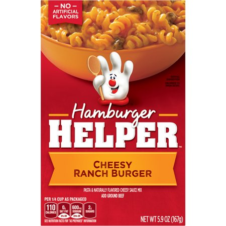 Hamburger Helper Cheesy Ranch Burger Hamburger Helper 5.9 Oz Cheesy Ranch Burger Hamburger Helper has no artificial flavors. Add Your Own Twist! Turn this flavor up! Stir in cooked carrots and top with diced jalapenos just before serving.