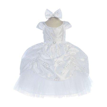 Reversible Cinderella Dress (Baby Girls White Cinderella Embroidered Taffeta Dress)