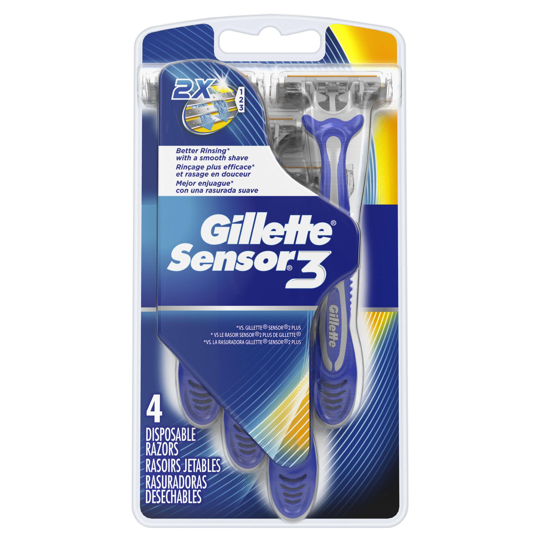 Gillette Sensor3 Men's Disposable Razors, 4 Count