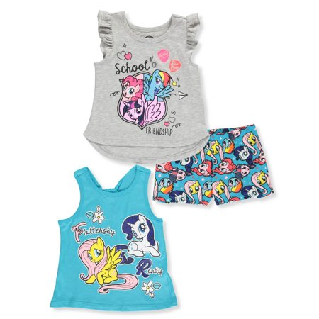 80s Outfit For Girl (My Little Pony Girls' 3-Piece Shorts Set)