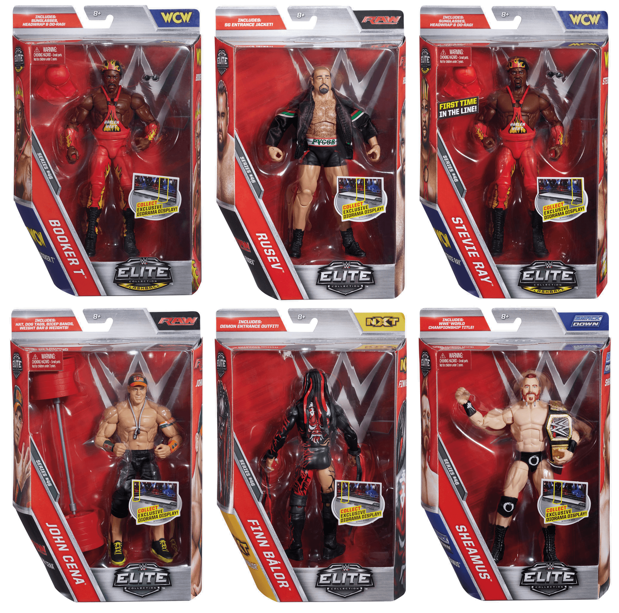 WWE Elite Collection Series #46 | John Cena - Demon Finn Balor - Sheamus - Rusev - Harlem Heat Booker T - Stevie Ray | Deluxe Wrestling Action Figure Toy Set | WWF Raw Smackdown WCW NXT Merchandise