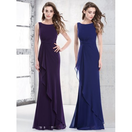 Ever-Pretty Womens Elegant Ruched Waist Evening Party Bridesmaid Dresses for Women 08796 Navy Blue US 4