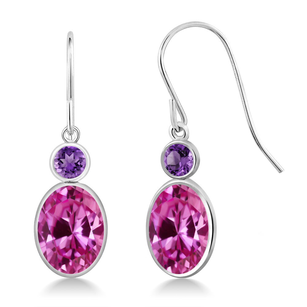 3.50 Ct Oval Pink Created Sapphire Purple Amethyst 14K White Gold Earrings by