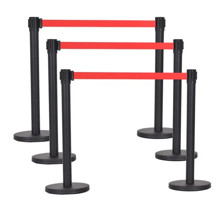 Costway 6Pcs Black Stanchion Posts Queue Pole Retractable Red Belt Crowd Control Barrier