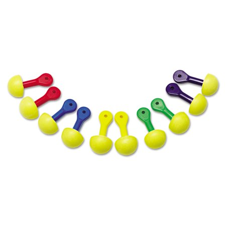 3M E A R Express Asst Colored-Grip Pod Plugs, Cordless, 25NRR, YW/Asst, 100 Pairs