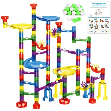 Kids Marble Run Set-154Pcs (90Translucent Pieces + 64Marbles) for Marble Race Track Game F-252 ()
