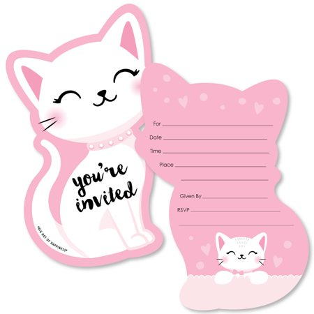 Purr-FECT Kitty Cat - Shaped Fill-in Invitations - Kitten Meow Baby Shower or Birthday Party Invitation Cards with Envel (Cat In The Hat Invitations)