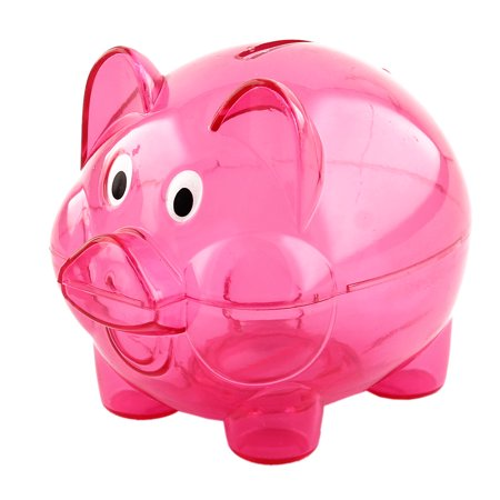 Household Plastic Pig Shape Money Coin Cash Saving Piggy Bank Box Fuchsia (Plastic Banks)