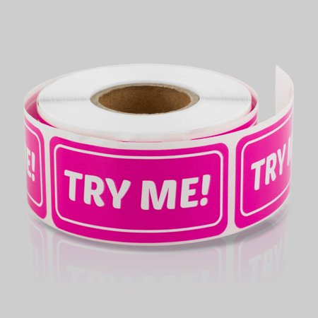 Try Me Stickers (2 x 1 inch, 300 Labels per Roll, 2 Rolls, Dark Pink) for Sample Products, Cosmetics, Retail, Perfume