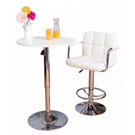 Vogue Furniture Direct Adjustable Height Swivel Barstools with Armrest and Footrest, White VF1581011 ()