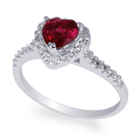 White Gold Plated 0.8 carat Ruby Heart CZ Halo Solitaire Ring Size 5