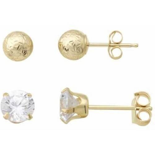 Simply Gold 10kt Yellow Gold 5mm Ball Stud And 5mm Cubic Zirconia Stud Earrings Set