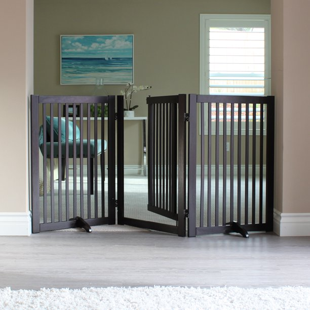 Freestanding Walk Thru Wood Pet Gate